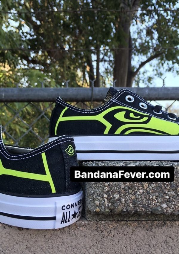 Seattle Seahawks Lime Custom Converse Shoes Black Low Stagger at BandanaFever.com