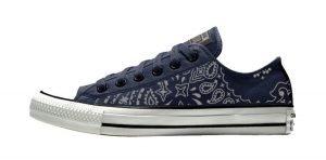 Silver Bandana Custom Converse Shoes Navy/White Low by BandanaFever.com