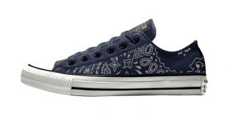 Silver Bandana Custom Converse Shoes Navy/White Low by BandanaFever.com