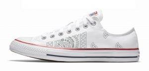 Silver Bandana Teardrops Custom Converse Shoes White Low by BandanaFever.com