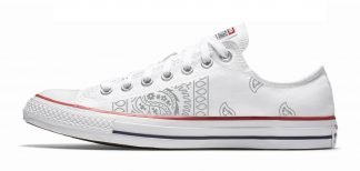 Silver Bandana Teardrops Custom Converse Shoes White Low by BandanaFever.com