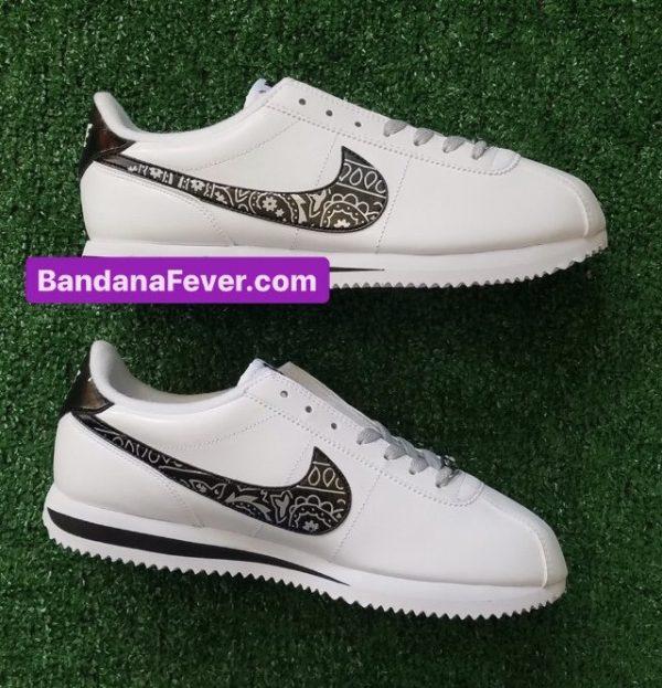 Silver Bandana Custom Nike Cortez Shoes LWB Swoosh Sides at BandanaFever.com