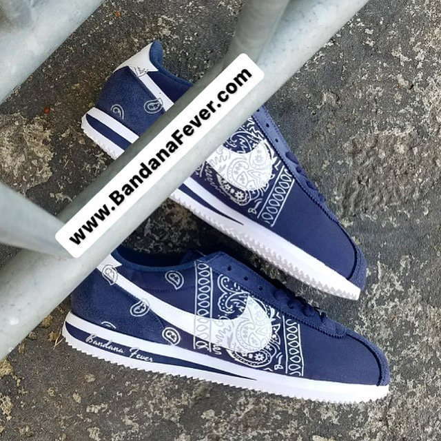 Silver Bandana Teardrops Custom Nike Cortez Shoes at BandanaFever.com