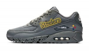 Pittsburgh Steelers Black Splat Custom Nike Air Max Shoes Grey by BandanaFever.com