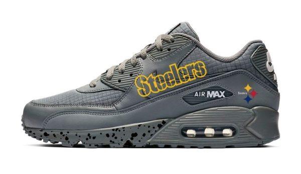 Pittsburgh Steelers Black Splat Custom Nike Air Max Shoes Grey by BandanaFever.com
