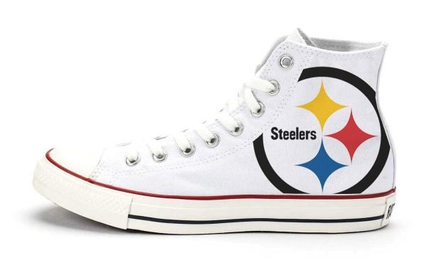Pittsburgh Steelers Custom Converse Shoes White High by BandanaFever.com