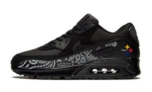 Pittsburgh Steelers Silver Bandana Custom Nike Air Max Shoes Black by BandanaFever.com