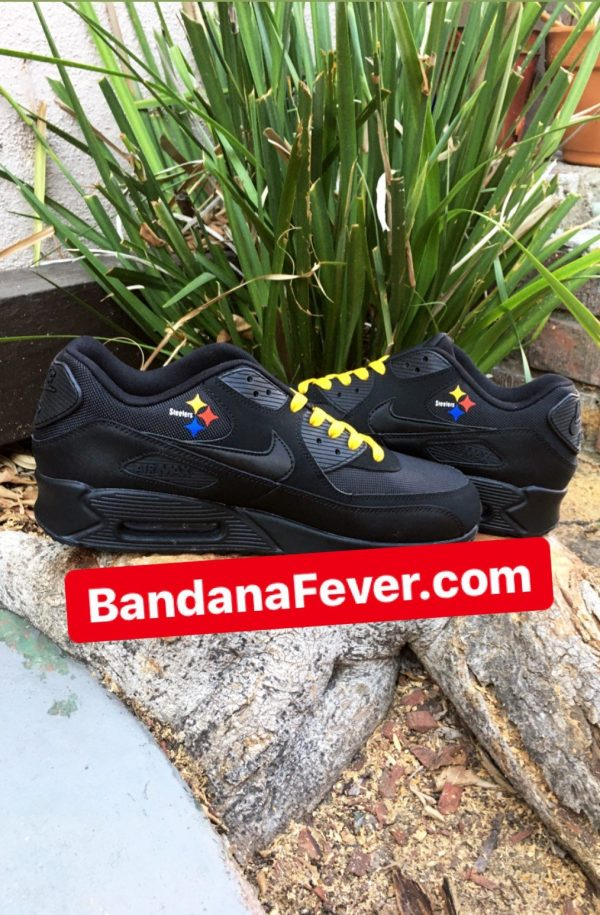 Pittsburgh Steelers Silver Splat Custom Nike Air Max Shoes Black Insides at BandanaFever.com