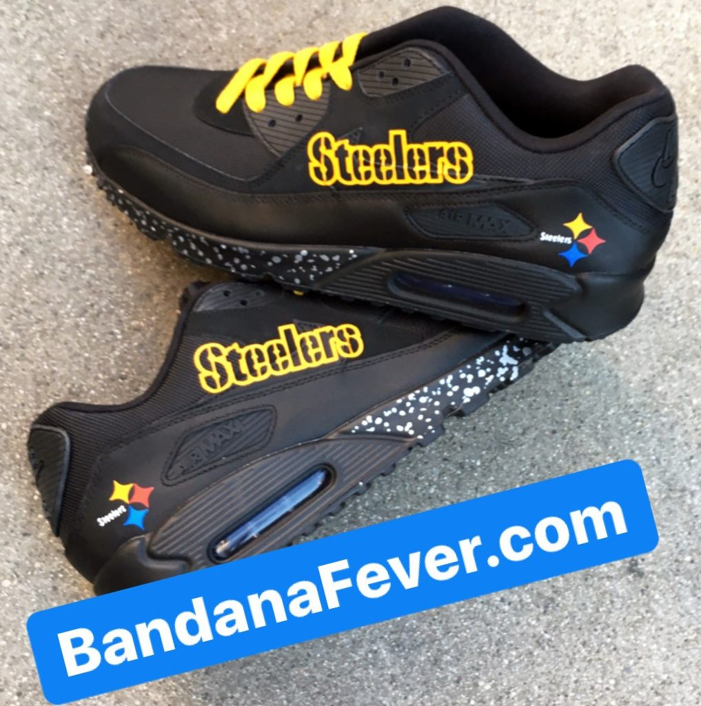 Pittsburgh Steelers Silver Splat Custom Nike Air Max Shoes Black Stacked at BandanaFever.com