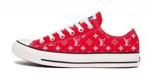 Supreme LV Custom Converse Shoes Red Low by BandanaFever.com
