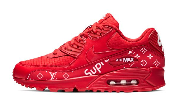 Supreme LV Custom Nike Air Max Shoes Red by BandanaFever.com