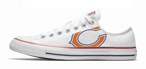 Chicago Bears Custom Converse Shoes White Low by BandanaFever.com