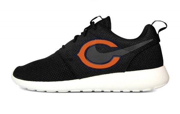 Chicago Bears Custom Nike Roshe Shoes Black by BandanaFever.com