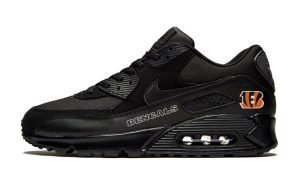 Cincinnati Bengals White Custom Nike Air Max Shoes Black by BandanaFever.com
