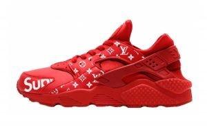 Supreme LV Custom Nike Air Huarache Shoes Red by BandanaFever.com