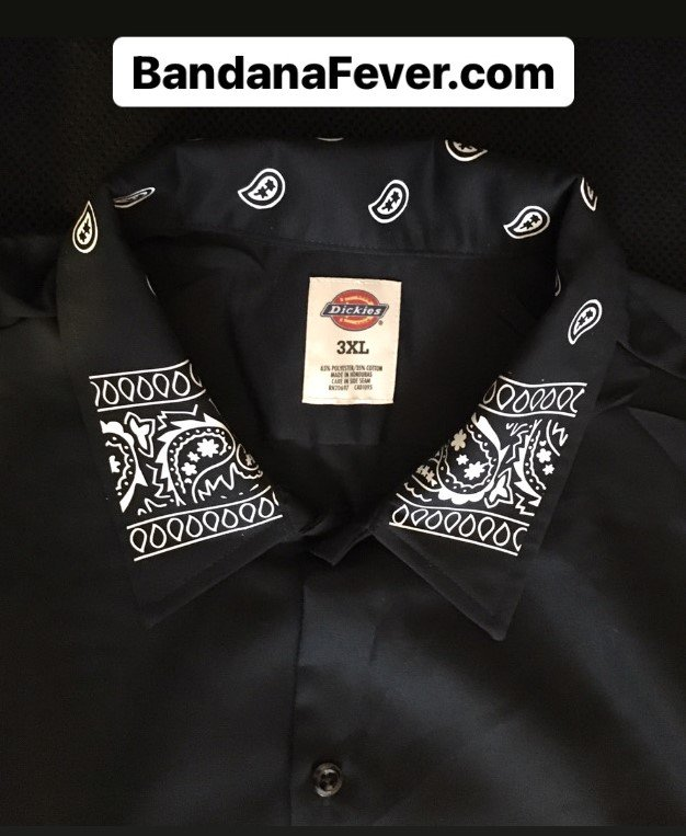 Bandana Fever Black Bandana Teardrops Custom Dickies Shirt Collar LS Black at BandanaFever.com