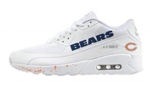 Chicago Bears Orange Splat Custom Nike Air Max Shoes White by BandanaFever.com