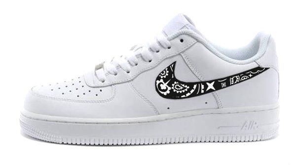 Black Bandana Custom Nike Air Force 1 Shoes White Low Solid Swoosh by BandanaFever.com