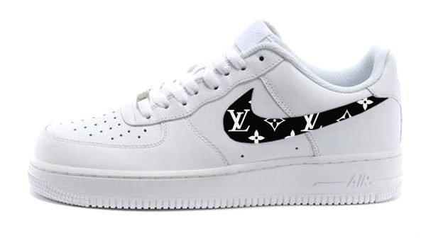 Black Supreme LV Custom Nike Air Force 1 Shoes White Low Swoosh by BandanaFever.com