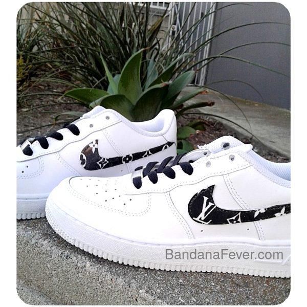 Black Supreme LV Custom Nike Air Force 1 Shoes White Low Swoosh at BandanaFever.com