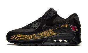 Arizona Cardinals Gold Bandana Custom Nike Air Max Shoes Black by BandanaFever.com
