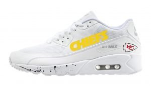 KC Chiefs Black Splat Custom Nike Air Max Shoes White by BandanaFever.com