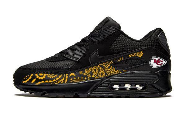 KC Chiefs Gold Bandana Custom Nike Air Max Shoes Black by BandanaFever.com