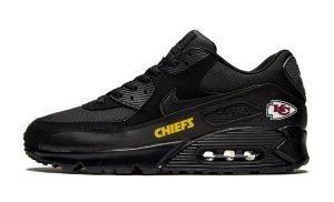 KC Chiefs Gold Custom Nike Air Max Shoes Black by BandanaFever.com