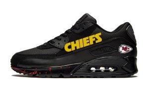 KC Chiefs Red Splat Custom Nike Air Max Shoes Black by BandanaFever.com