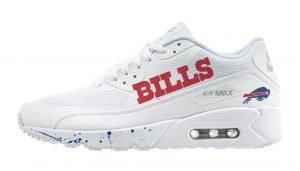 Buffalo Bills Blue Splat Custom Nike Air Max Shoes White by BandanaFever.com