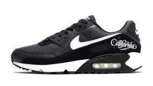 California Custom Nike Air Max Shoes Grey Black by BandanaFever.com