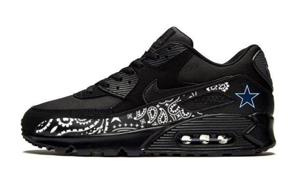 Dallas Cowboys Black Bandana Custom Nike Air Max Shoes Black by BandanaFever.com