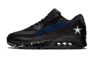 Dallas Cowboys White Splat Custom Nike Air Max Shoes Black by BandanaFever.com