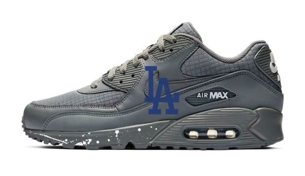 LA Dodgers Big White Splat Custom Nike Air Max Shoes Grey by BandanaFever.com
