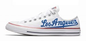 Los Angeles Dodgers Road Custom Converse Shoes White Low by BandanaFever.com