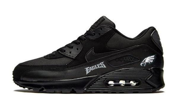 Philadelphia Eagles Silver Custom Nike Air Max Shoes Black by BandanaFever.com