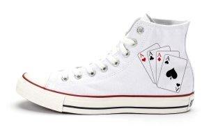 Four Of A Kind Custom Converse Shoes White High BandanaFever.com