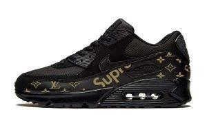 Gold Supreme LV Custom Nike Air Max Shoes Black by BandanaFever.com