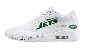 NY Jets Black Splat Custom Nike Air Max Shoes White by BandanaFever.com