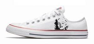 Marilyn Monroe Custom Converse Shoes White Low by BandanaFever.com