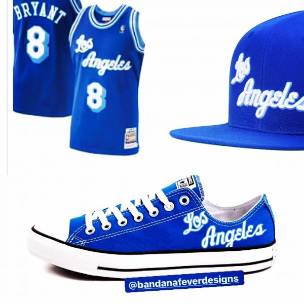 60s Lakers Throwback Custom Converse Shoes at BandanaFever.com