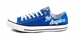 60s Lakers Throwback Custom Converse Shoes Snorkel Blue Low by BandanaFever.com