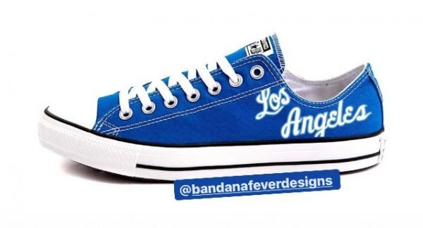 Bandana Fever 60s Lakers Throwback Custom Converse Shoes Blue Lowat BandanaFever.com