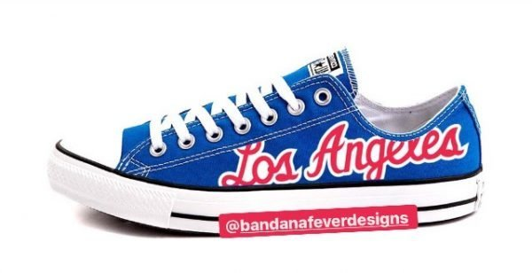 Bandana Fever Clippers Throwback Custom Converse Shoes Blue Low at BandanaFever.com