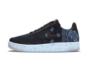 Carolina Blue Bandana Custom Nike Air Force 1 Shoes Black Chambray Sides by BandanaFever.com