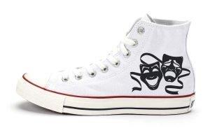 Comedy Tragedy Masks Custom Converse Shoes White High by BandanaFever.com