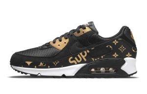 Gold Supreme LV Custom Nike Air Max Shoes Black Gold by BandanaFever.com