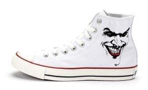 Joker Custom Converse Shoes White High by BandanaFever.com
