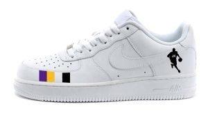 Kobe Dribble Custom Nike Air Force 1 Shoes White Low by BandanaFever.com