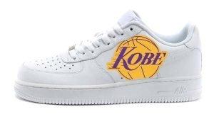 Kobe Lakers Logo Custom Nike Air Force 1 Shoes White Low by BandanaFever.com